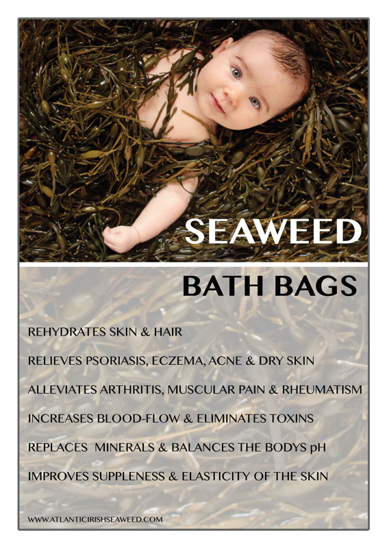 Poster showing seaweed bath bag